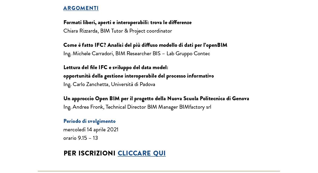 Firenze BIM Arena - Open BIM - 14 aprile 2021 - 4 CFP