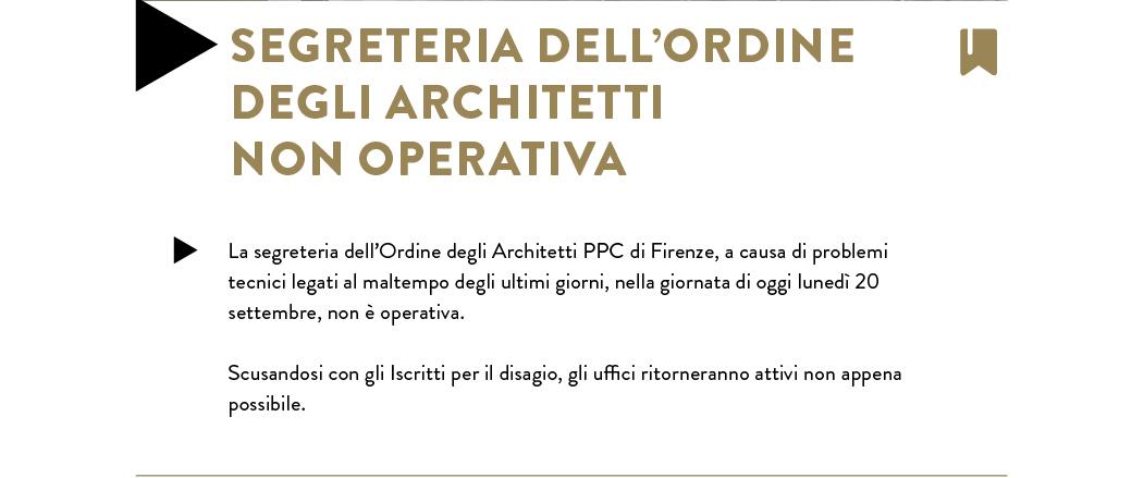 Segreteria dell'Ordine degli Architetti non operativa