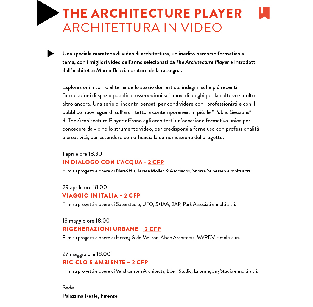 THE ARCHITECTURE PLAYER: ARCHITETTURA IN VIDEO