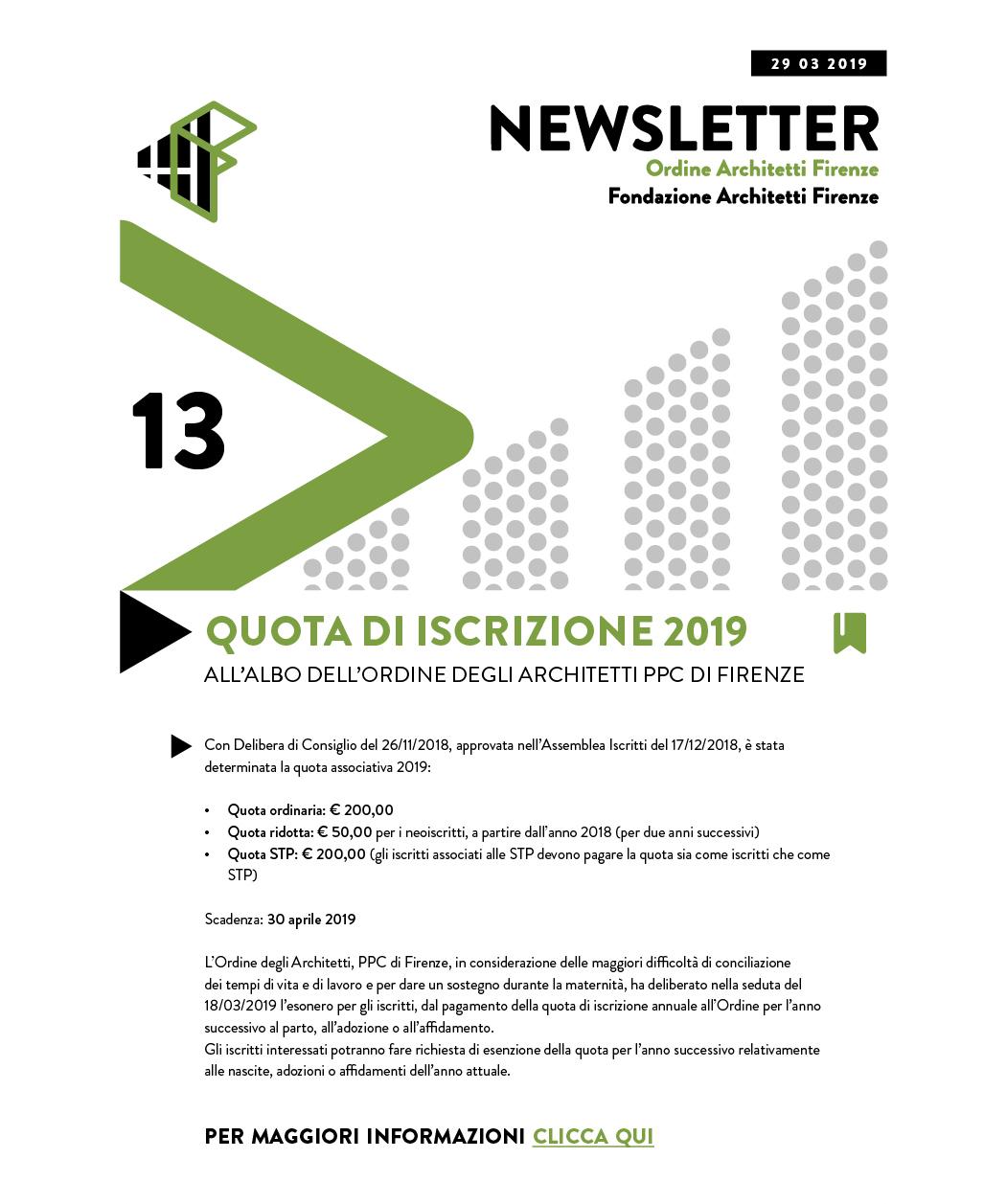 QUOTA DI ISCRIZIONE 2019