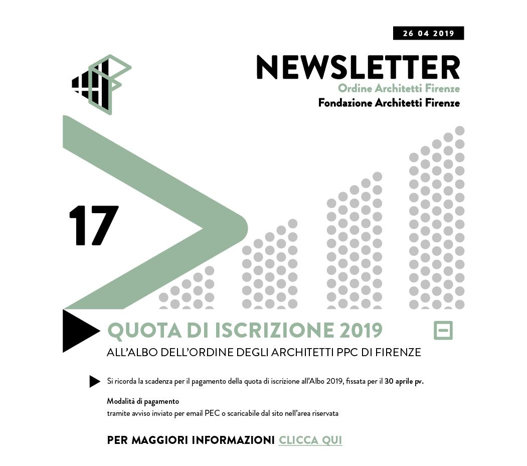 QUOTA DI ISCRIZIONE 2019 — Ordine Architetti PPC di Firenze