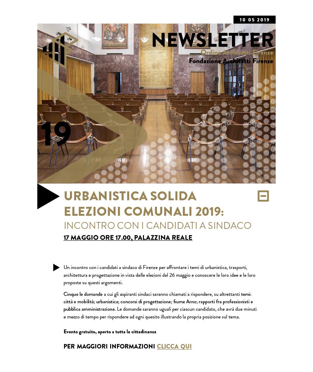 URBANISTICA SOLIDA ELEZIONI COMUNALI 2019: INCONTRO CON I CANDIDATI A SINDACO 17 maggio ore 17.00, palazzina reale