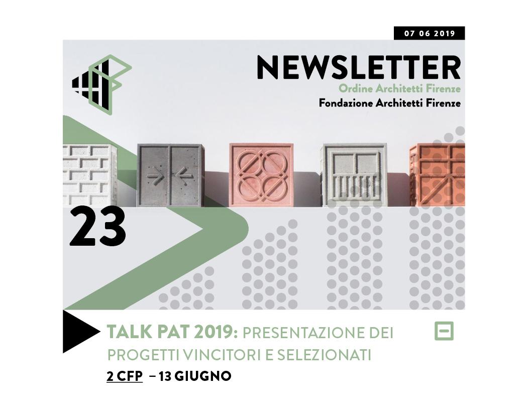 TALK PAT 2019: PRESENTAZIONE DEI PROGETTI VINCITORI E SELEZIONATI 2 CFP – 13 giugno