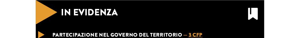 PARTECIPAZIONE NEL GOVERNO DEL TERRITORIO — 3 CFP
