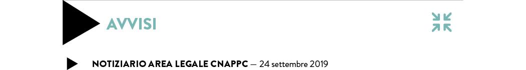 Notiziario Area legale CNAPPC — 17 settembre 2019