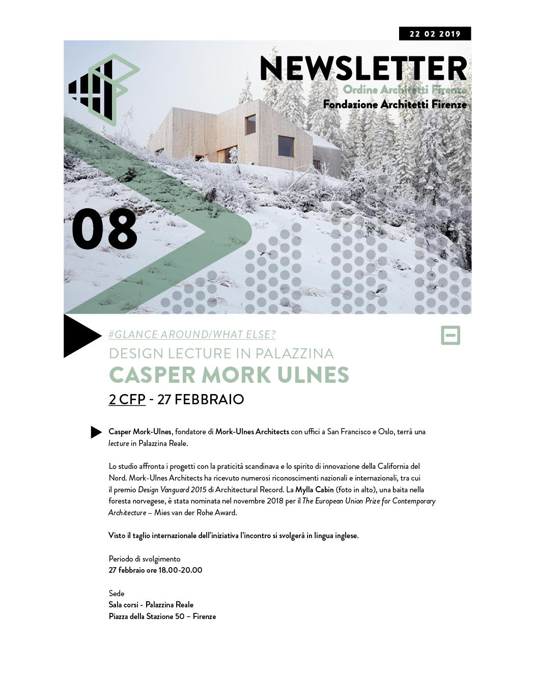 #Glance around/What else? DESIGN LECTURE in PALAZZINA CASPER MORK ULNES 2 CFP - 27 febbraio