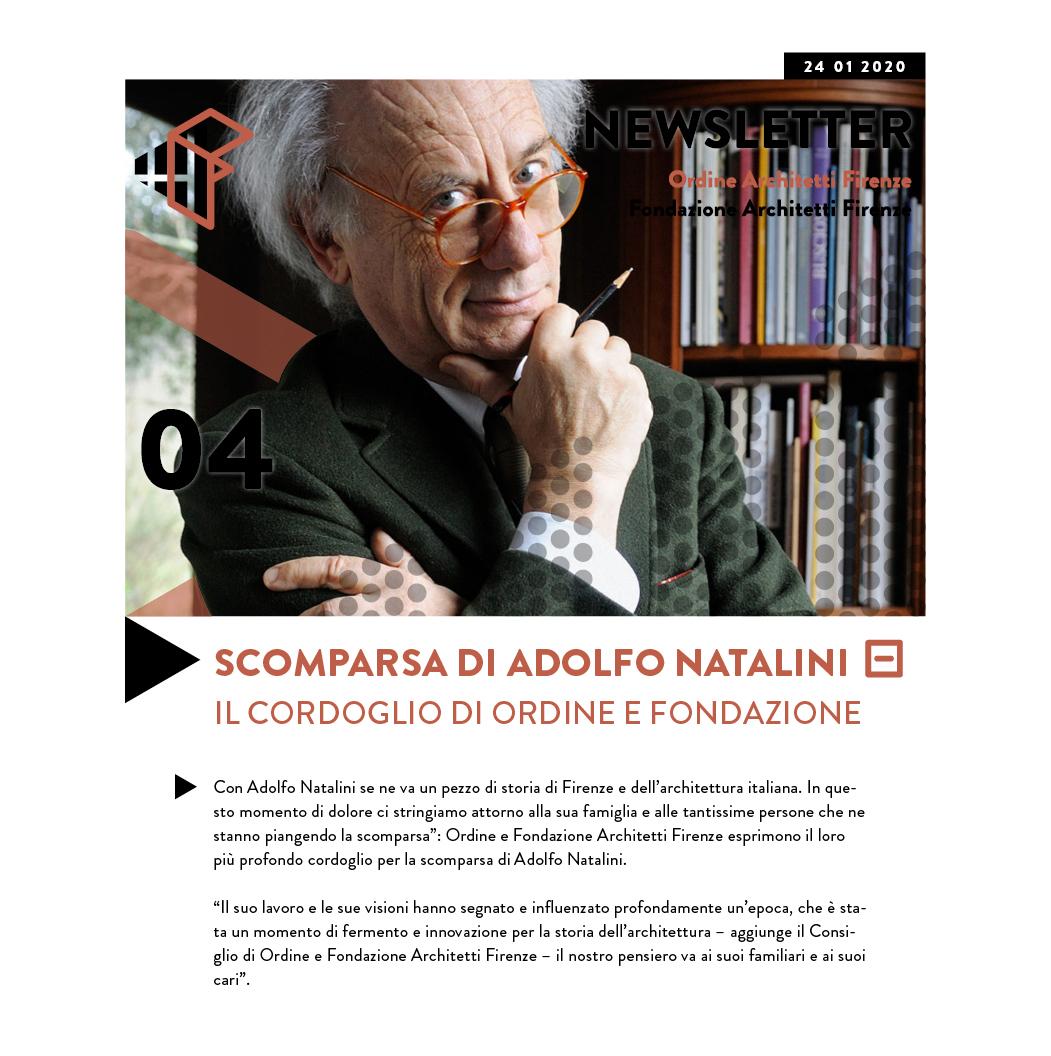 Scomparsa di Adolfo Natalini