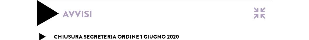 CHIUSURA SEGRETERIA ORDINE 1 GIUGNO 2020