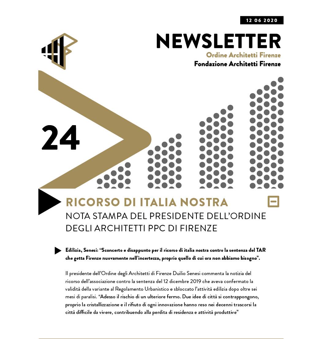 RICORSO DI ITALIA NOSTRA NOTA STAMPA del presidente dell'Ordine degli architetti PPC di Firenze