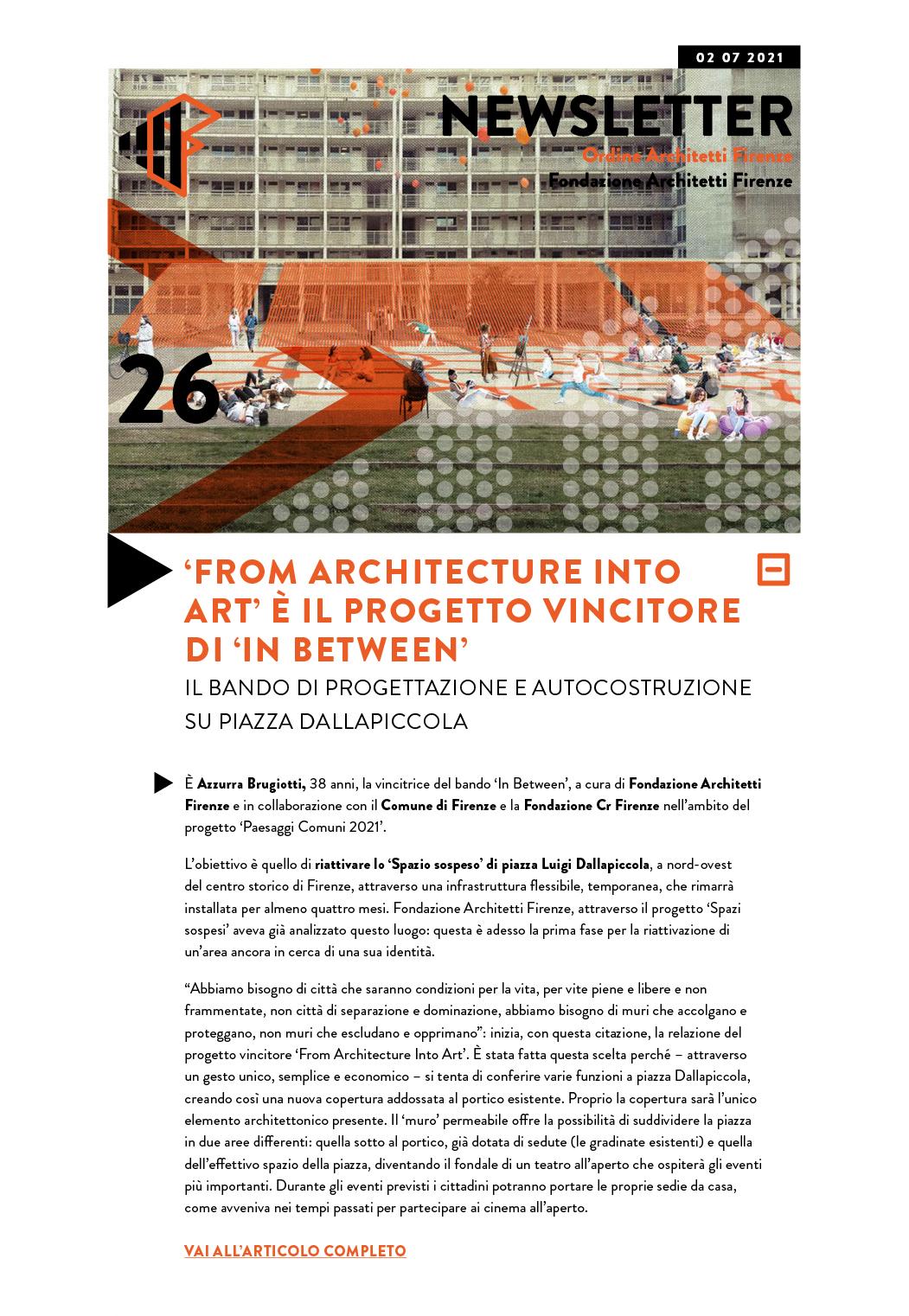 'FROM ARCHITECTURE INTO ART' È IL PROGETTO VINCITORE DI 'IN BETWEEN'
