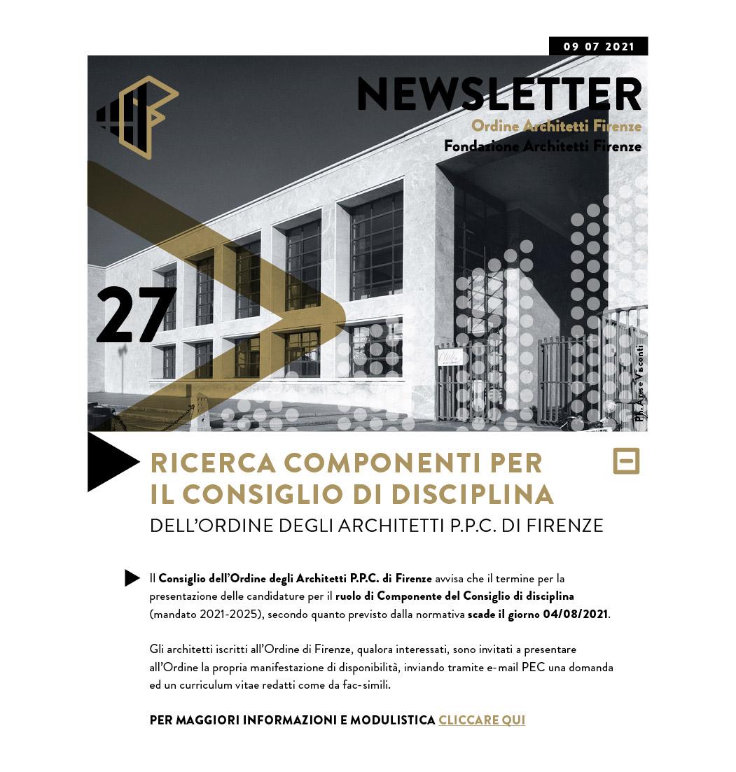 RICERCA COMPONENTI per il CONSIGLIO DI DISCIPLINA DELL'ORDINE DEGLI ARCHITETTI P.P.C. DI FIRENZE