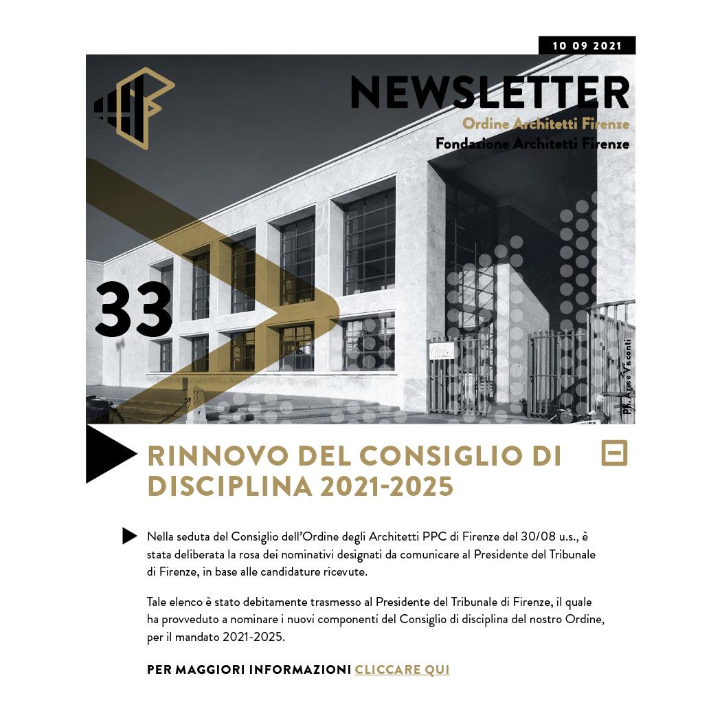 RINNOVO DEL CONSIGLIO DI DISCIPLINA 2021-2025