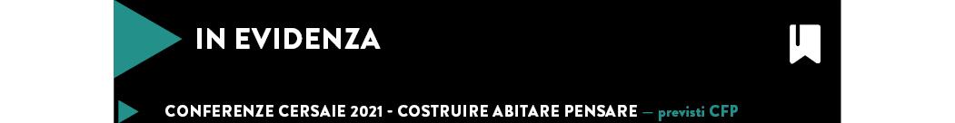 CONFERENZE CERSAIE 2021 - COSTRUIRE ABITARE PENSARE — previsti CFP